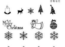 圣诞节装饰物、雪花花纹图案等PS圣诞节元素笔刷