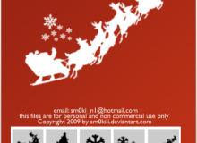 圣诞节装饰元素、圣诞老人、雪花等PS笔刷素材下载
