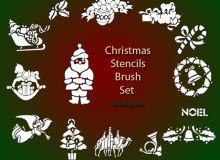 圣诞节装饰图形、圣诞节照片、贺卡美图PS笔刷素材