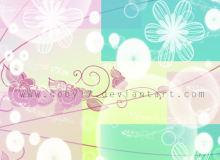 手绘线条花朵图案PS笔刷素材