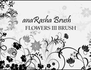 漂亮的植物鲜花花纹图案、贵族藤蔓式印花PS笔刷