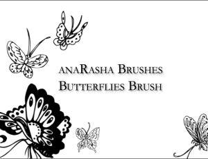 蝴蝶花纹、蝴蝶印花图案PS笔刷素材
