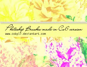 手工制作的复古花卉图案PS笔刷素材