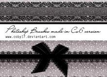 蕾丝花边式丝带、蕾丝蝴蝶结带PS笔刷下载