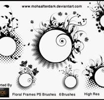 漂亮的圆圈式植物印花图案PS笔刷下载