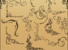手绘线条式艺术印花图案PS笔刷素材下载