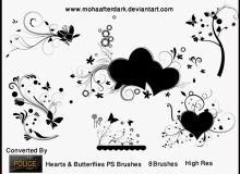漂亮爱心艺术系列花纹图案PS笔刷素材