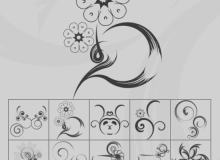 手绘植物花纹、印花素材PS笔刷