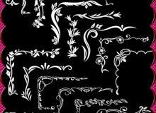 欧式植物花纹边角、边框装饰PS笔刷素材