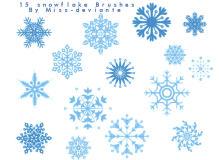 15种花式雪花图案、经典印花效果PS笔刷素材下载