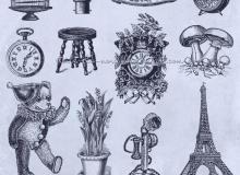 复古欧美生活元素鸟笼、电灯泡、餐盘组、闹钟、凳子、玩具熊、巴黎塔等PS笔刷素材