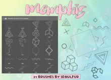 立方体、点划线、三角形等可爱几何元素Photoshop美图笔刷