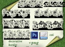 鲜花花纹边框图案PS笔刷下载