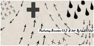 手绘箭头标记、叉叉、雨滴图案PS笔刷下载