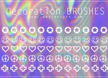 可爱五角星、笑脸、爱心、十字图案PS笔刷下载