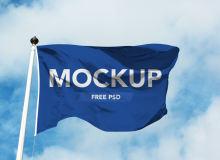 飘扬的旗帜展示PSD样机模板素材