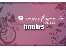 9种植物系艺术花纹图案PS笔刷素材