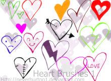 七夕节涂鸦手绘爱心、心形图案PS爱情笔刷