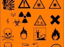 禁止标志、警示图案、骷髅头、核辐射PS标志笔刷