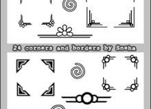 24种简单的印花边框、边角图案PS笔刷素材