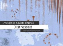 铁锈痕迹、刮痕、污水污渍、肮脏的纹理、帆布孔、开裂和剥落的油漆效果PS笔刷素材