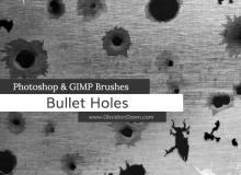 子弹弹孔、破洞效果纹理PS笔刷下载