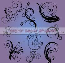 漩涡式涂鸦艺术印花PS笔刷素材下载