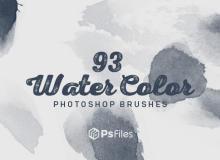 93种免费的水彩、油墨、水墨晕染涂痕PS笔刷素材下载