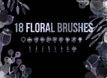 18种植物鲜花图案、绿叶枝条PS笔刷素材