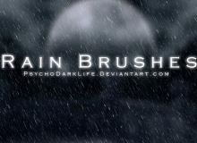 雨天背景、下雨场景、下雨天气PS下雨笔刷