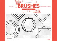 几何图形、同心圆、方框、菱形图案PS笔刷