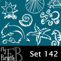 手绘卡通海洋生物元素图像PS笔刷下载