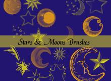 可爱的童话里的星星、月亮PS笔刷下载