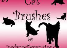 黑色猫咪、卡通小猫剪影造型PS笔刷下载
