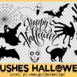 万圣节鬼怪、蝙蝠、幽灵、黑猫、血手印PS笔刷素材