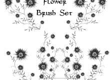 鲜花式植物印花图案PS笔刷免费下载