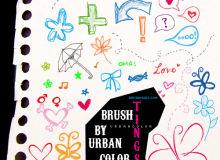 童趣幼稚的涂鸦笔记、爱心、鲜花、蝴蝶、标记等PS笔刷下载