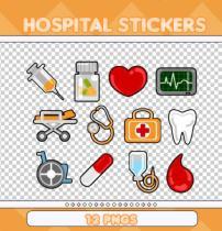 卡通医院元素药丸、轮椅、病床、牙齿、药箱、针筒、药瓶等素材PNG免扣图透明格式