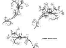 漂亮的手绘线条、线框艺术花纹PS笔刷素材