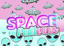 可爱外星人、外星飞碟Photoshop填充图案文件底纹素材 .pat 下载