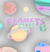 漂亮七彩卡通星球图案PS笔刷素材(PNG图片格式素材)