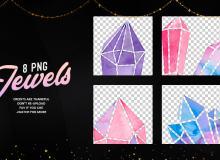 七彩水晶图形PS美图笔刷(PNG透明图片格式)