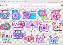 超可爱卡通相机标签贴纸PS笔刷素材(PNG透明格式)