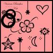 星星、鲜花、月亮、爱心图案装饰PS笔刷下载