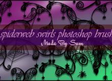 4种魔幻蜘蛛网花纹图形PS笔刷下载