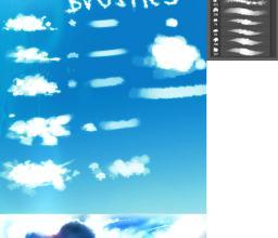 数字云朵、手绘云朵、白云笔触画笔Photoshop素材下载