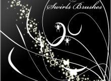 线条艺术花纹和蝴蝶图案PS笔刷下载