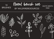 10 手绘植物绿叶枝条印花图案PS笔刷下载
