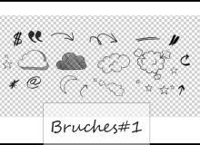 可爱童趣涂鸦云朵、符号标点等PS美图笔刷