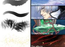 云朵、皮肤、头发、衣服、眼睛、水晶、宝石、铁链、水波纹等混合型sut画笔下载(非PS笔刷素材)